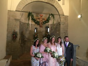 Bride bridal party groom chapel Italy