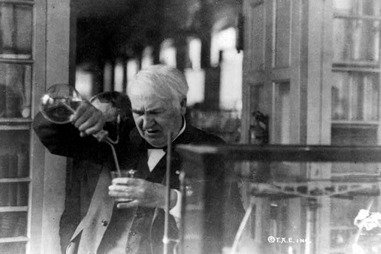 Thomas Edison, pouring liquid