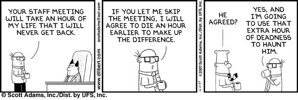 Reuniones en una startup - Dilbert reuniones de equipo