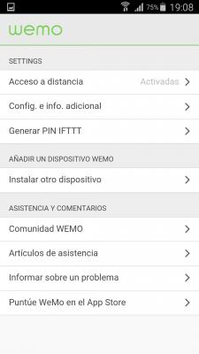 Control de la app WeMo