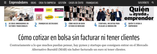 Articulo revista emprendedores con declaraciones de Juan Jesús Velasco sobre financiación de startups