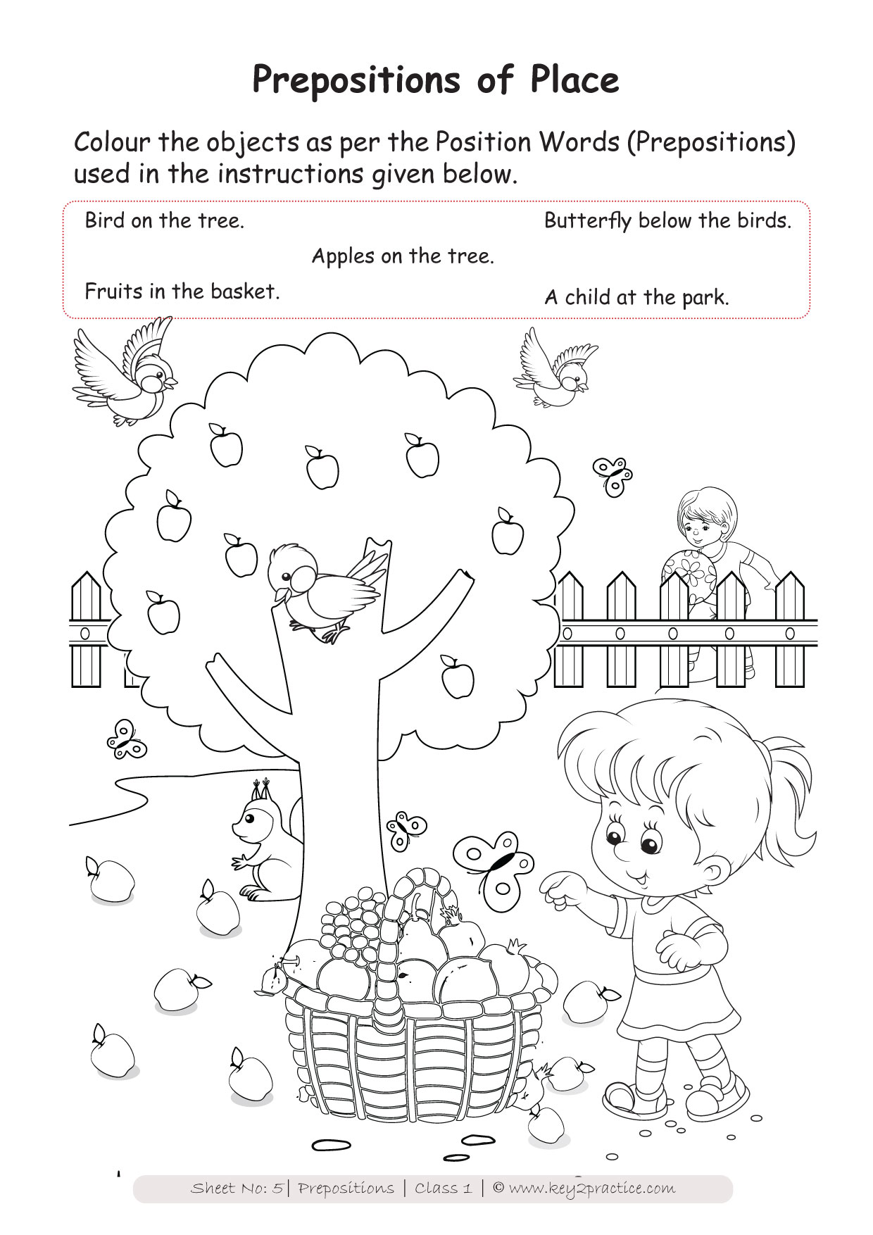Prepositions Worksheets Grade 1 I English