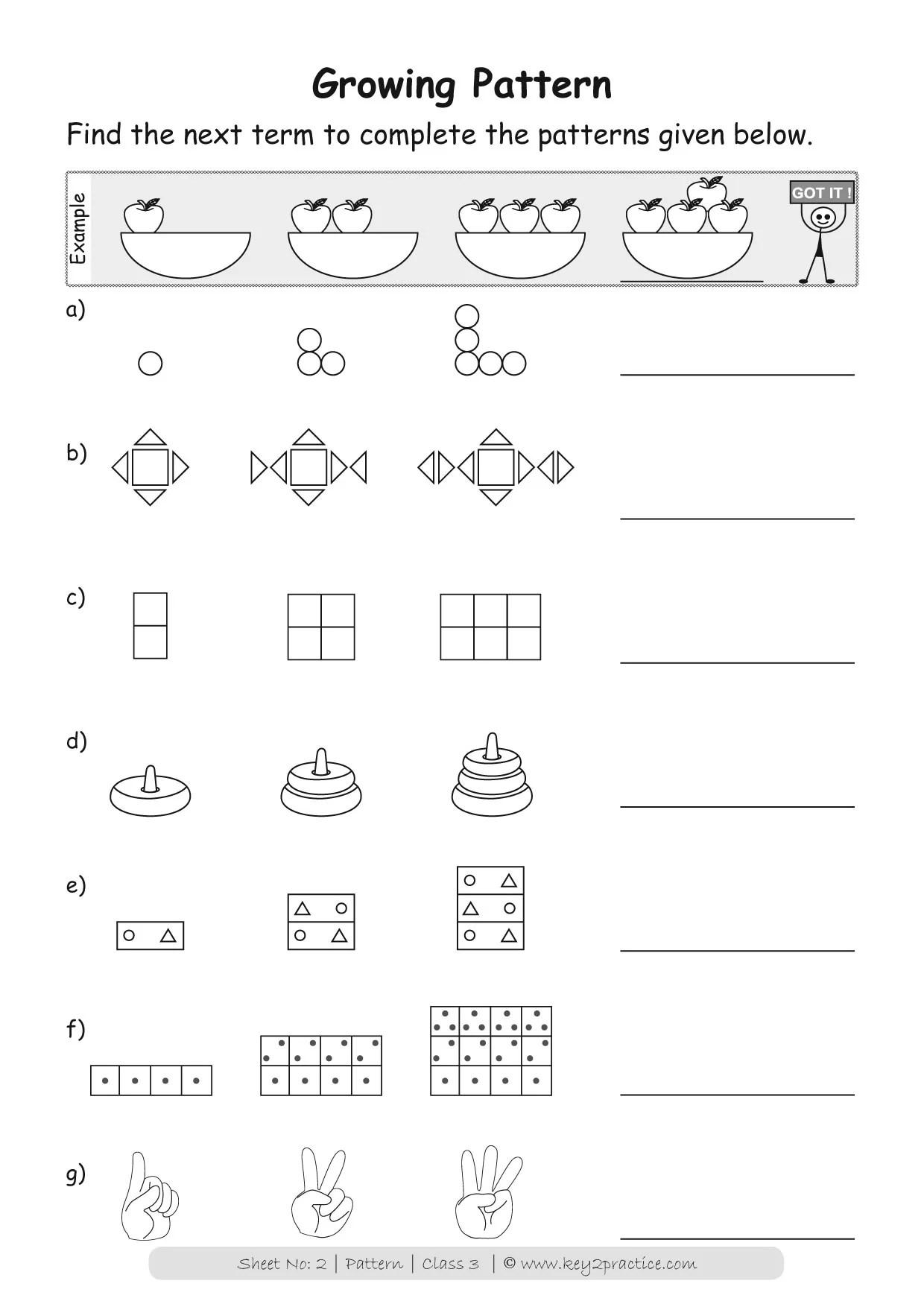 Worksheets Patterns I Maths Grade 3