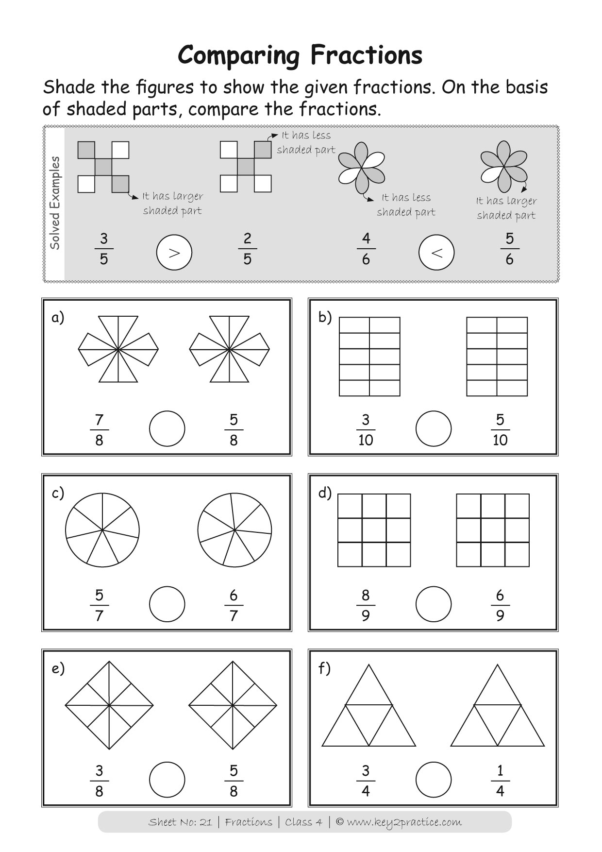Maths Worksheets Grade 4 Fractions