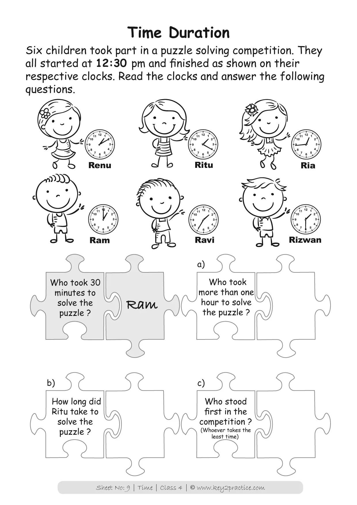 Maths Worksheets Grade 4 Time