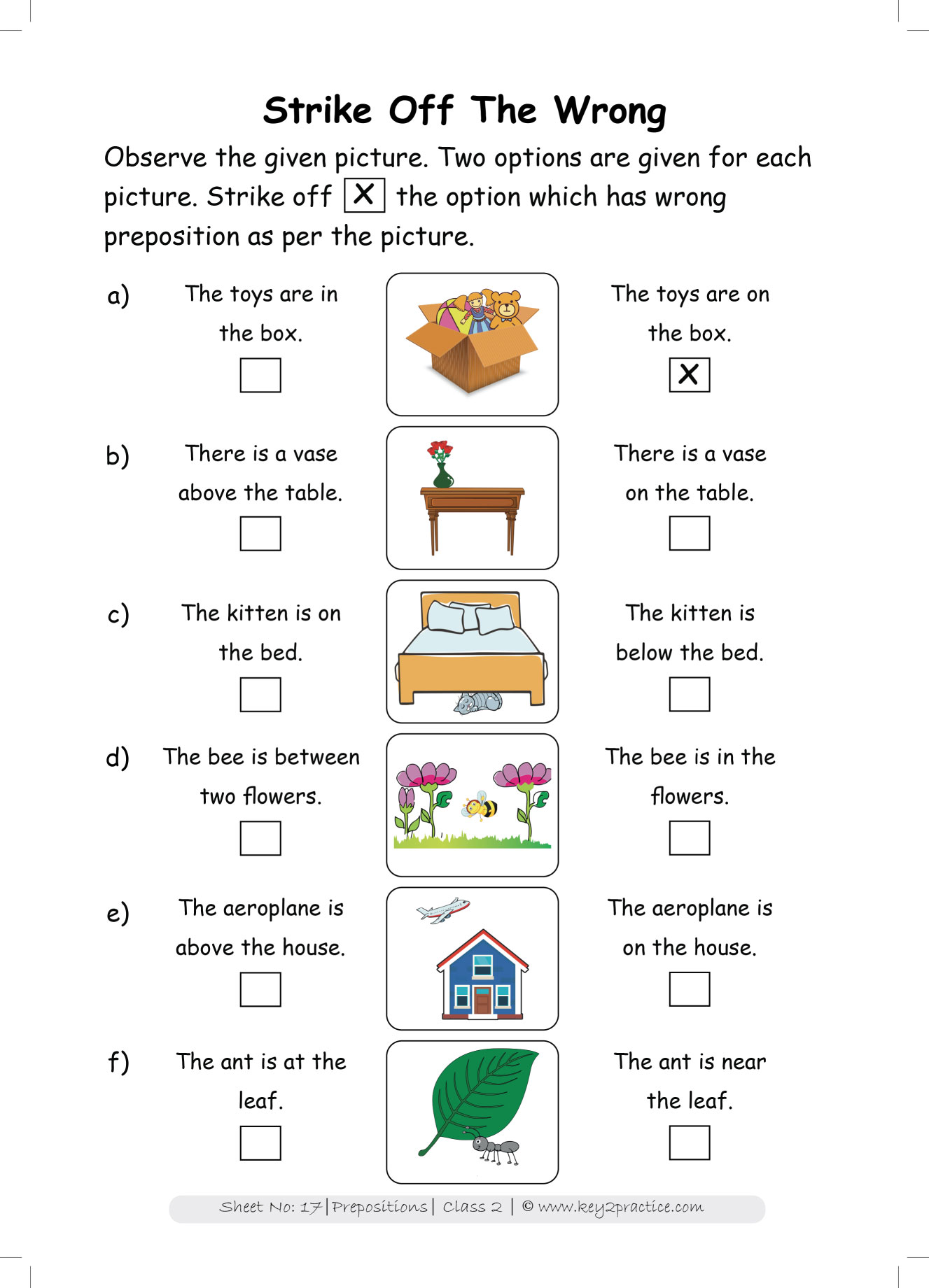 Grade 2 English Worksheets Prepositions