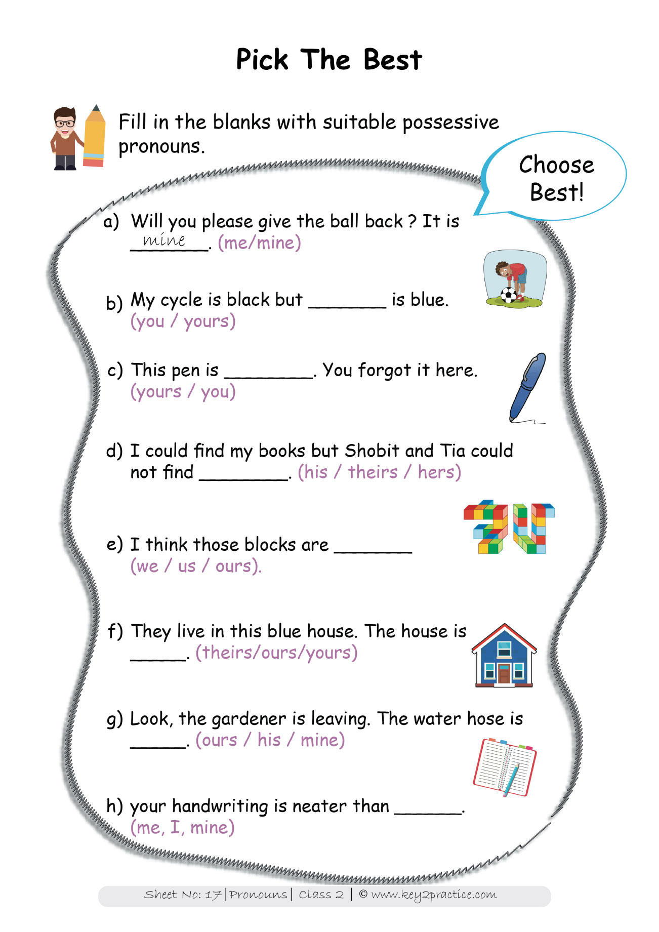 English Grammer Workbook Grade 2 Pronouns