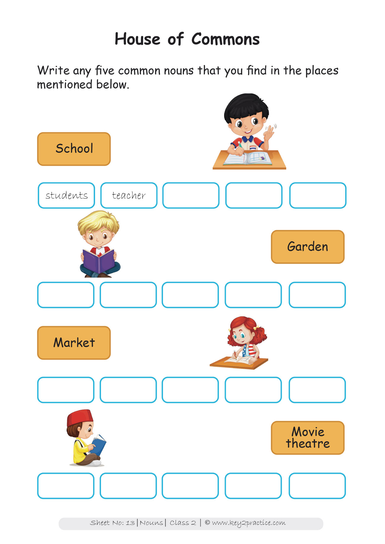 Grade 2 Nouns Worksheets I English