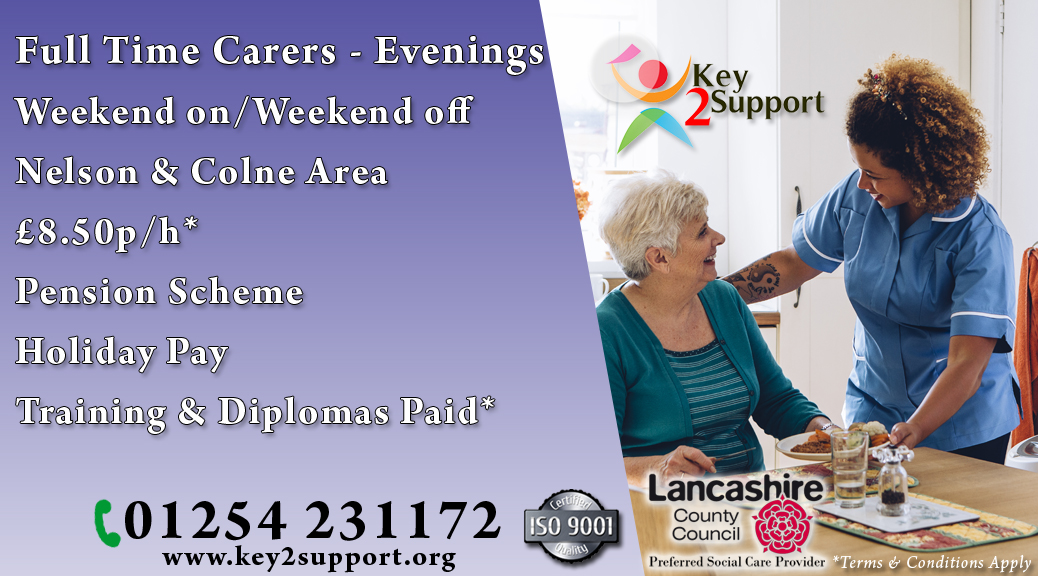 Support Worker job Nelson Colne evenings