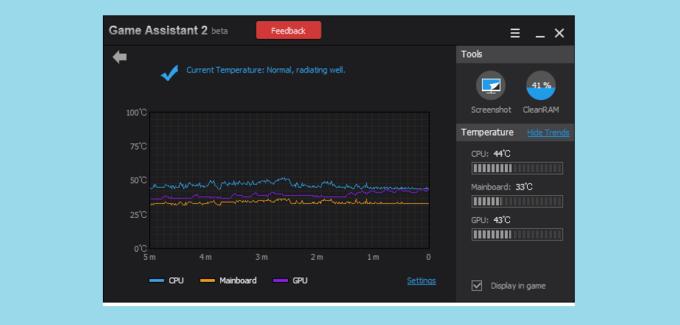 Game Assistant 2 temperature