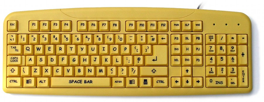 KBC-240BY - Large Black Print, Yellow Keyboard