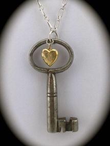 Unique Skeleton Key with Vintage Gold Filled Locket $52