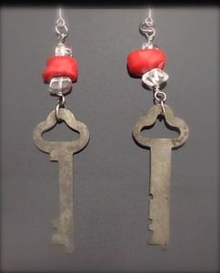 Vintage Skeleton Key Earrings w/ coral & quartz - $25 (SW904)