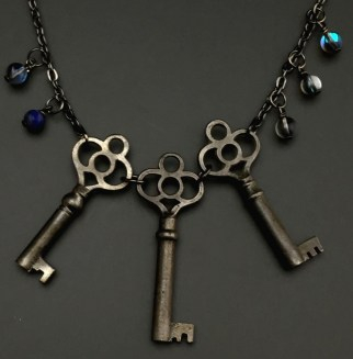 """Victorian Key """"Father, Son, Holy Spirit"""" with glass and lapis beads - $58 (SW809)"""