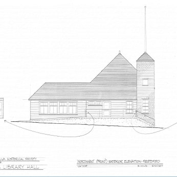 Vaughn Library Hall northwest (front) elevation (restored)