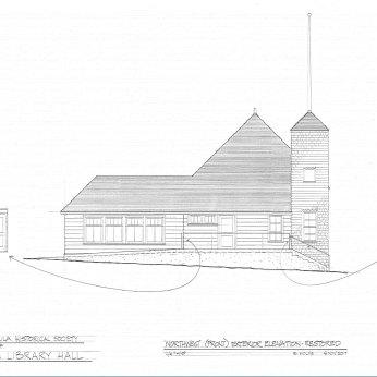 Vaughn Library Hall northwest (front) elevation (restored)