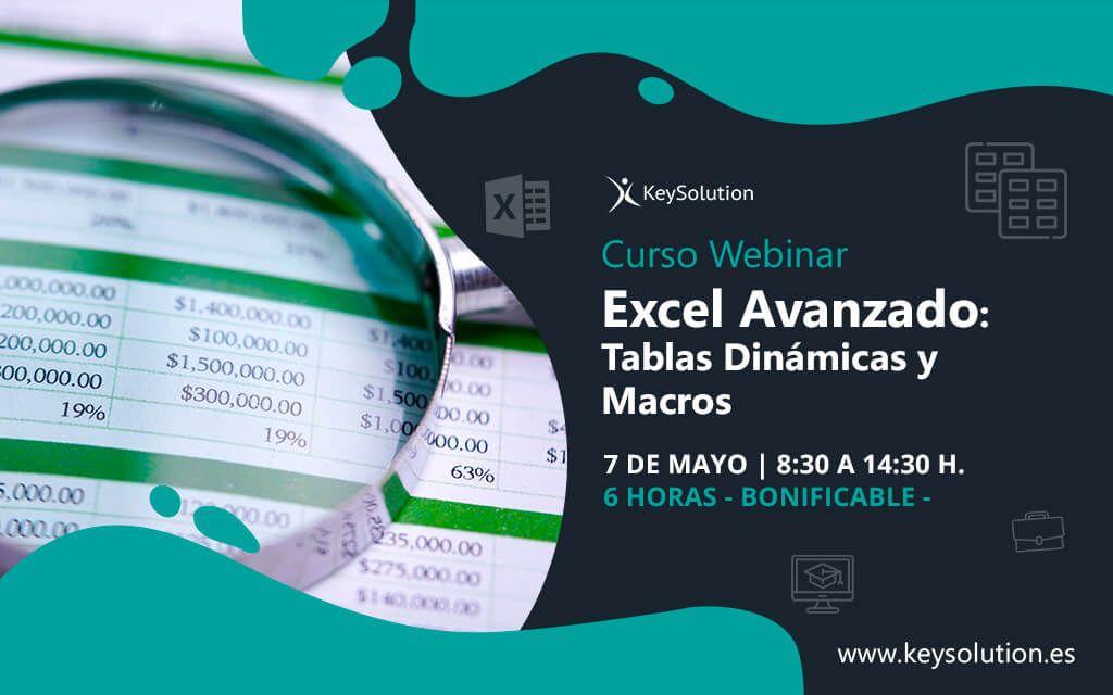 curso excel avanzado tablas dinámicas y macros webinar online