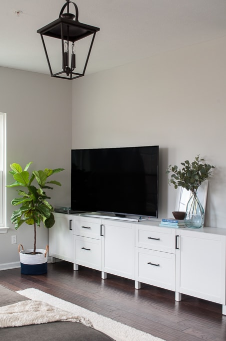 How to choose modern hardware for a media center. Get a built-in look on a budget using IKEA BESTA cabinets and affordable hardware from Amazon.
