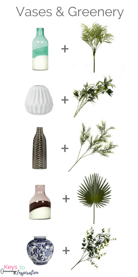 How to arrange faux greenery stems. Tips for styling faux greenery and flowers.
