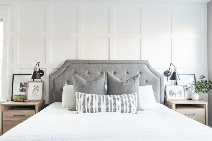 I'm so excited to give you a tour of our modern classic master bedroom! We tried to make it really relaxing and beautiful at the same time, with a mix of DIY projects, a few new pieces, and some decorative accents. Come on in and take the grand tour!