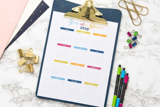 Free Printable Year At A Glance Calendar Keys To Inspiration