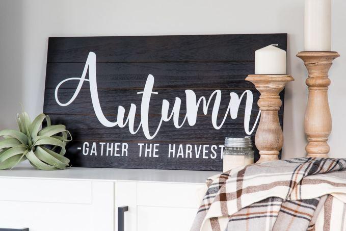 Wooden Autumn Hand-Lettered sign vignette