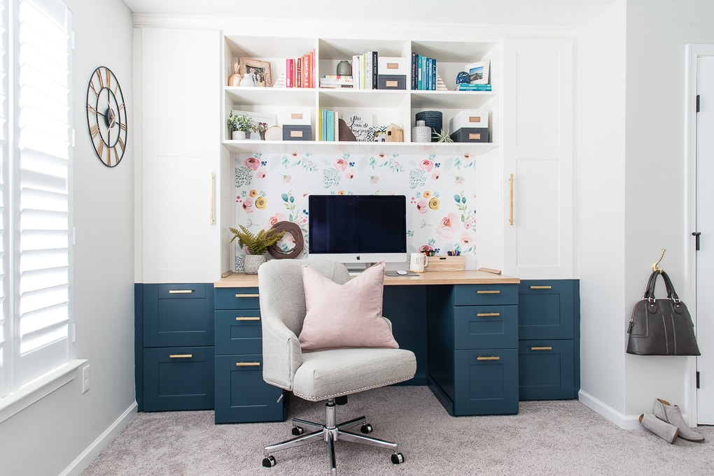 Home Office Built In Desk Navy And White With Bookshelves And Chair With  Pink Pillow