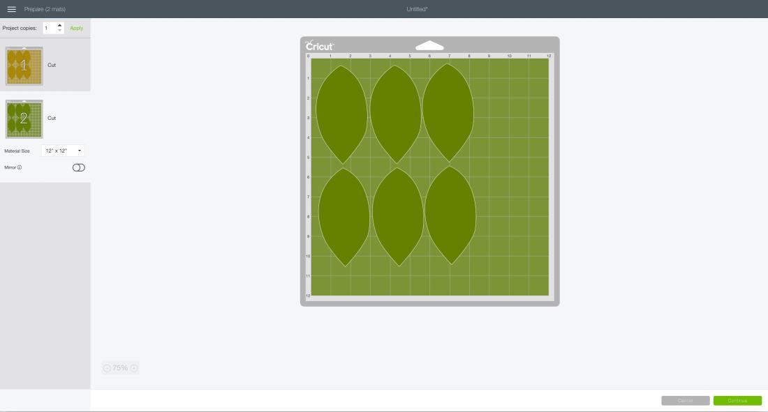 mat preview screen green Cricut Design Space gorgeous felt magnolia garland