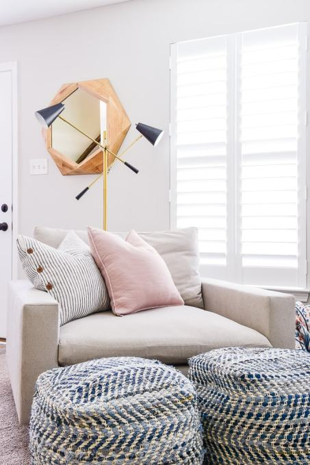 west elm harmony chair and gold and black lamp