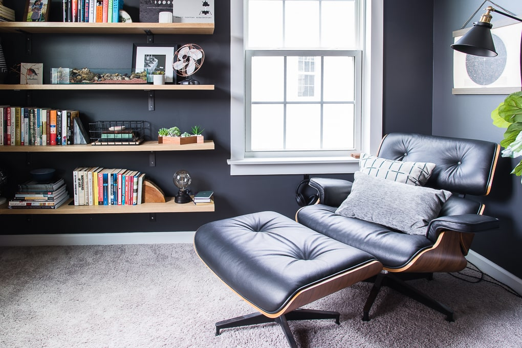 modern masculine office lounge chair in industrial office