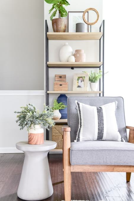 woven nook pillow cover on a modern accent chair