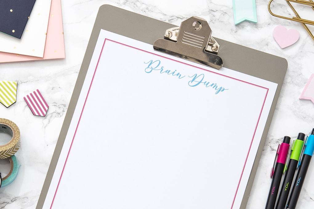 blank free printable brain dump worksheet