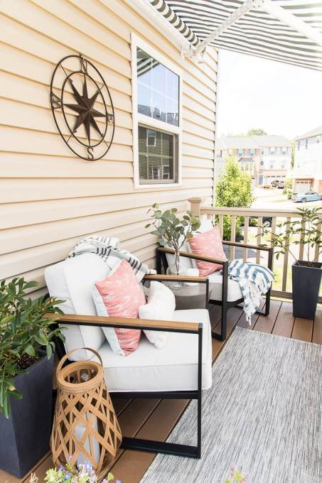 modern outdoor chairs on a porch townhome design target style