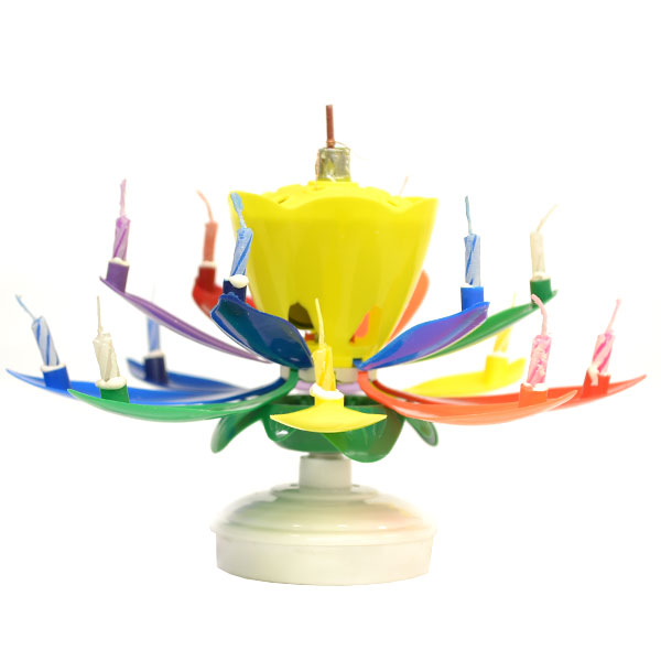 Rainbow Yellow Bud Musical Flower Birthday Candles Lotus Flower Spinning Candles