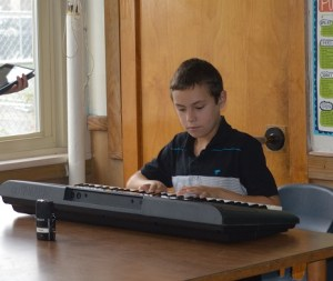 Student on keyboard