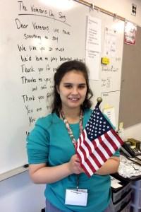 Student celebrating Veteran's Day