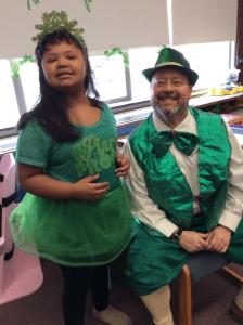 Leprechaun visit with students.