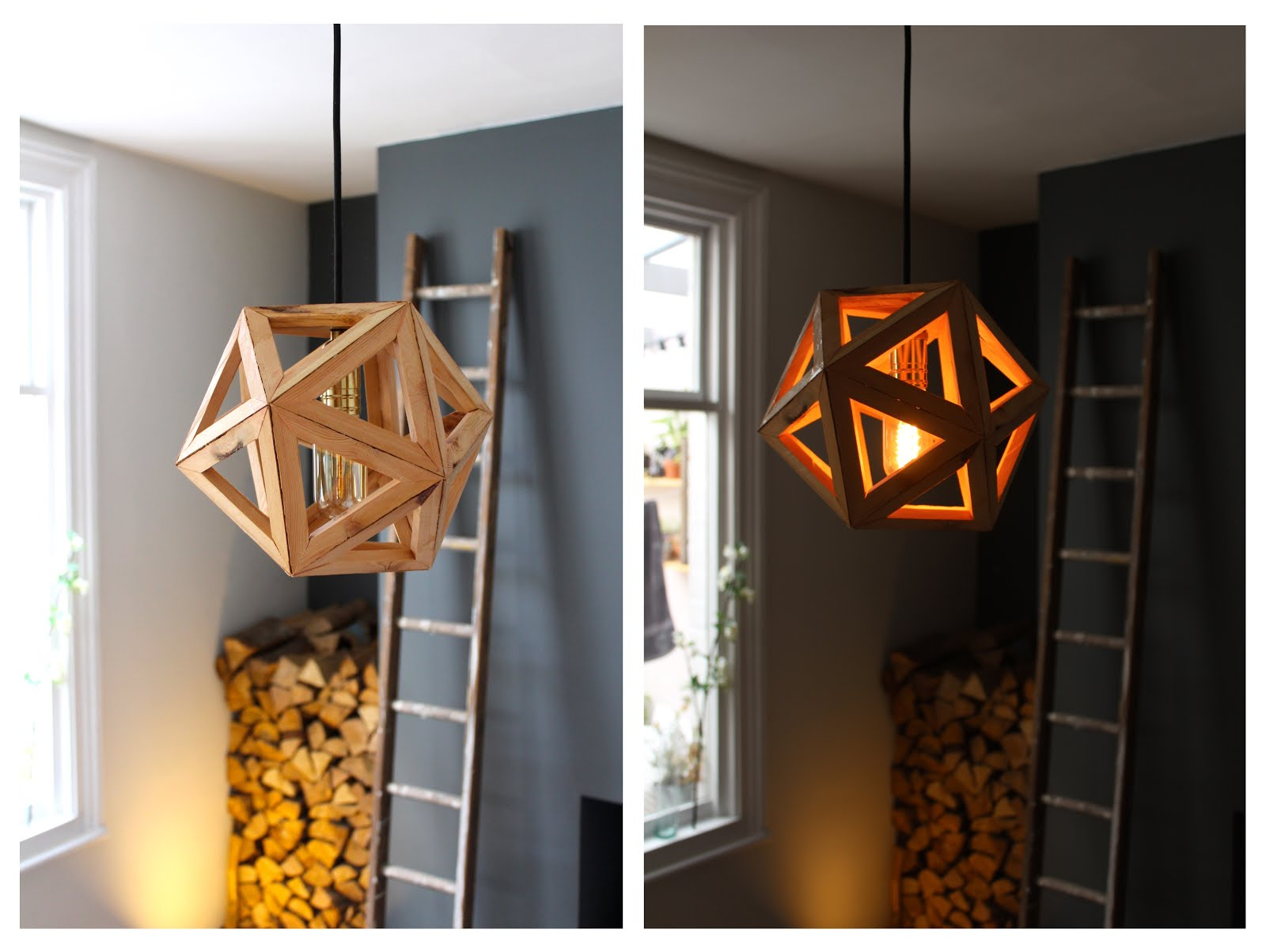 Diy Geometric Ceiling Light Icosahedron Kezzabeth Diy Renovation Blog