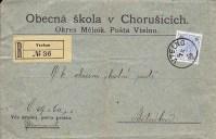 Doporučený dopisu z roku 1899 z Vtelna