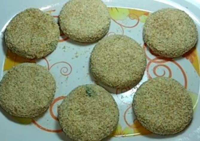 chicken cutlet coated with breadcrumbs