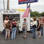 Folks start to line up for Petit Jean Hot Dogs and Ice Cold Pepsi