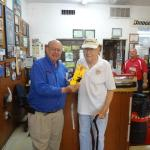 John Kent gives Jerry Taylor his winning Branson Tickets