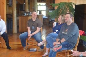 Leadership participants Michael Moody (Modern Woodmen of America) (far left), Kenny Rains (LaCroix Optical) (left), and Novella Humphrey (Southside Public Schools) (right) share personal experiences during the Leadership Batesville retreat ice breaker session. Far right: Leadership participant Jamie Townsend (ARcare)