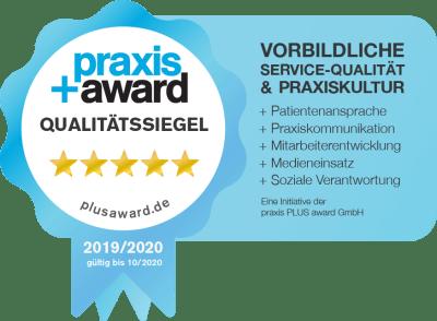 Praxis+Award Qualitätssiegel 5 Sterne Vorbildliche Service-Qualität & Praxiskultur