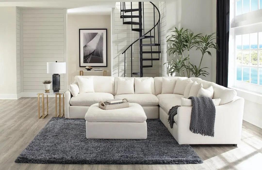 hobson off white upholstered modular sectional