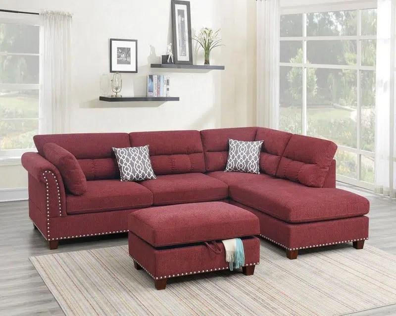 clara upholstered studded sectional sofa ottoman