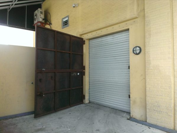 Just before the mall entrance, there's a giant steel blast door to who knows what.