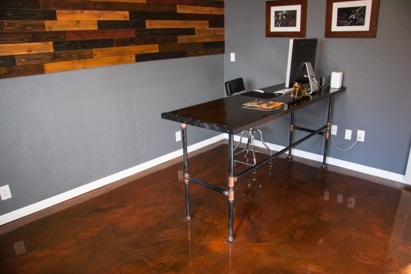 metallic epoxy floor in home office