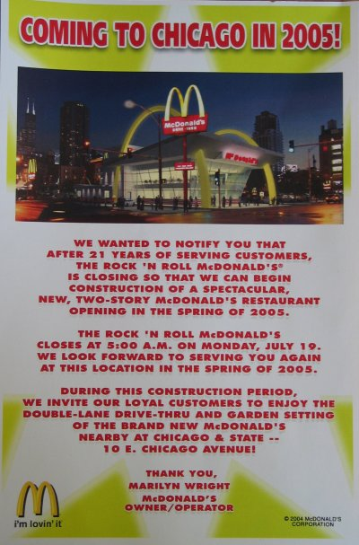 Rock and Roll McDonalds is dead