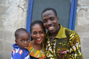 Innocent, his aunt Edem, and dad Odartey